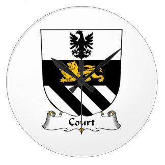 Escudo de la familia de la corte reloj redondo grande