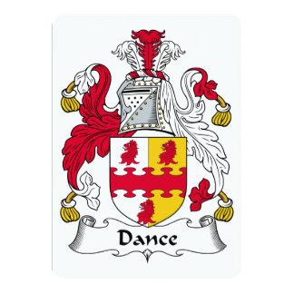 Escudo de la familia de la danza invitación 12,7 x 17,8 cm