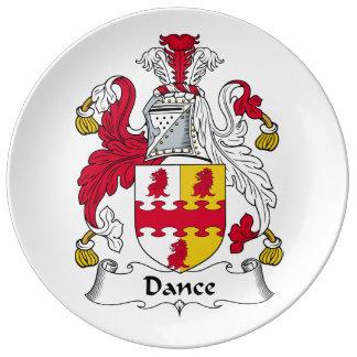 Escudo de la familia de la danza platos de cerámica