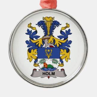 Escudo de la familia de la encina adorno navideño redondo de metal