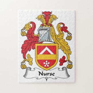 Escudo de la familia de la enfermera rompecabezas con fotos