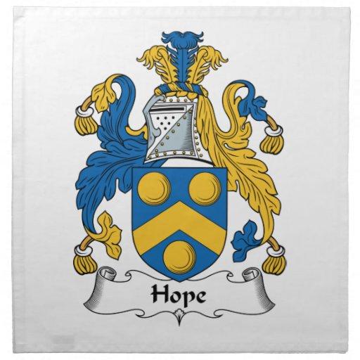 Escudo de la familia de la esperanza servilleta imprimida