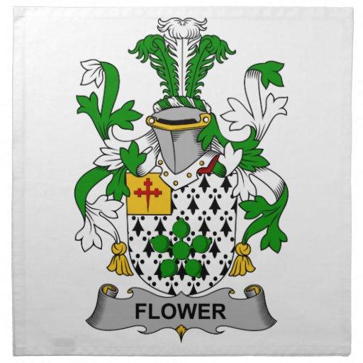 Escudo de la familia de la flor servilleta de papel