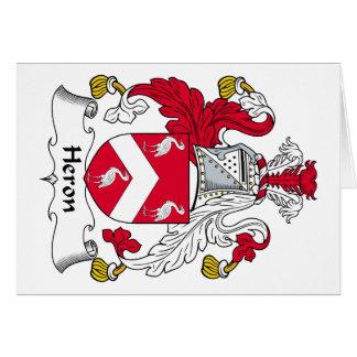 Escudo de la familia de la garza tarjeta de felicitación