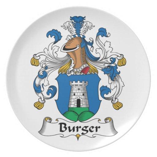 Escudo de la familia de la hamburguesa plato de comida