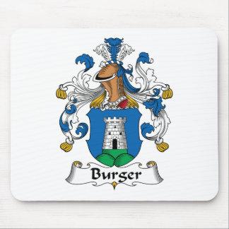 Escudo de la familia de la hamburguesa alfombrillas de ratón