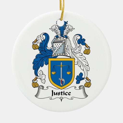 Escudo de la familia de la justicia adorno redondo de cerámica