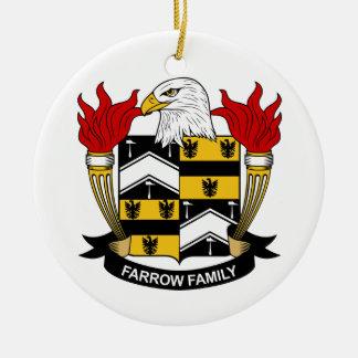 Escudo de la familia de la lechigada de puercos adorno navideño redondo de cerámica