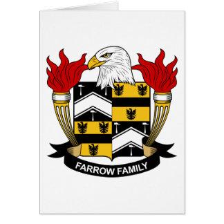 Escudo de la familia de la lechigada de puercos tarjeta de felicitación