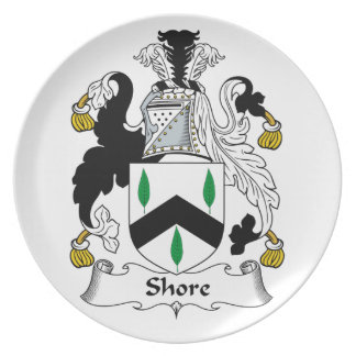 Escudo de la familia de la orilla platos
