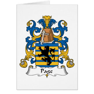 Escudo de la familia de la página tarjeta de felicitación