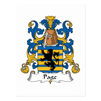 Escudo de la familia de la página tarjetas postales