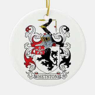 Escudo de la familia de la piedra de afilar adorno navideño redondo de cerámica