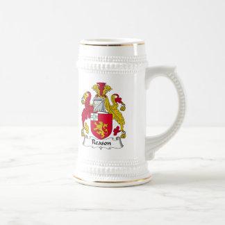 Escudo de la familia de la razón jarra de cerveza
