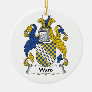 Escudo de la familia de la sala adorno navideño redondo de cerámica