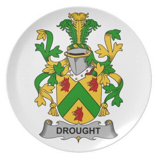 Escudo de la familia de la sequía plato para fiesta