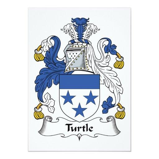 Escudo de la familia de la tortuga invitación 12,7 x 17,8 cm