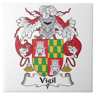 Escudo de la familia de la vigilia azulejo cuadrado grande