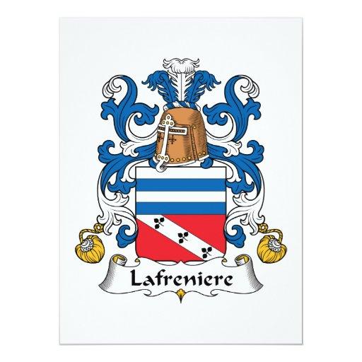 """Escudo de la familia de Lafreniere Invitación 6.5"""" X 8.75"""""""