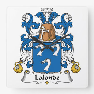 Escudo de la familia de Lalonde Reloj Cuadrado