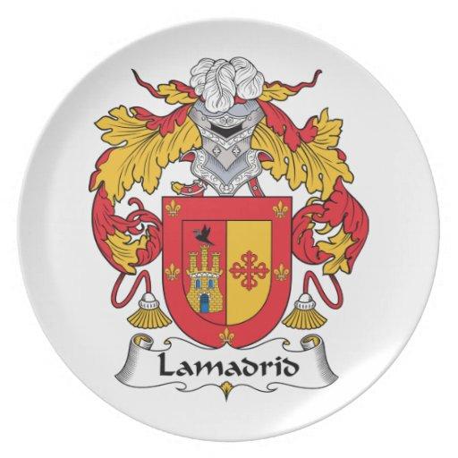 Escudo de la familia de Lamadrid Platos Para Fiestas