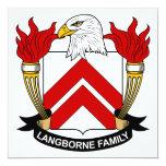 Escudo de la familia de Langborne Invitación 13,3 Cm X 13,3cm