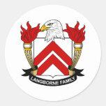 Escudo de la familia de Langborne Pegatina Redonda