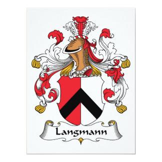Escudo de la familia de Langmann Invitación 16,5 X 22,2 Cm