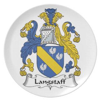 Escudo de la familia de Langstaff Plato Para Fiesta