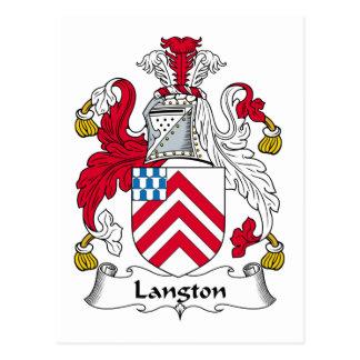 Escudo de la familia de Langton Tarjeta Postal