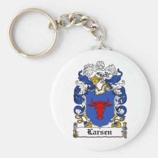 Escudo de la familia de Larsen Llavero Redondo Tipo Pin