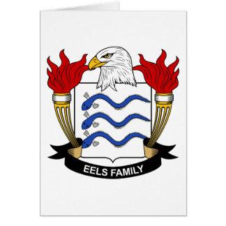 Escudo de la familia de las anguilas tarjeta de felicitación