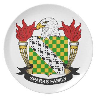 Escudo de la familia de las chispas platos
