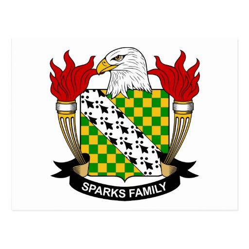 Escudo de la familia de las chispas tarjeta postal