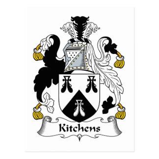 Escudo de la familia de las cocinas postal