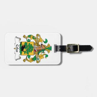 Escudo de la familia de las colas etiquetas maletas