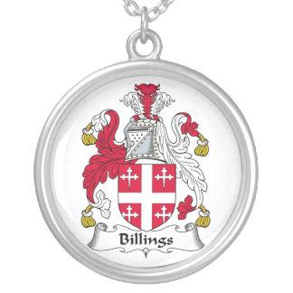 Escudo de la familia de las facturaciones collar personalizado