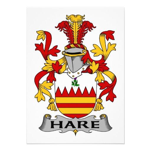 Escudo de la familia de las liebres invitacion personalizada