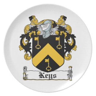 Escudo de la familia de las llaves plato para fiesta