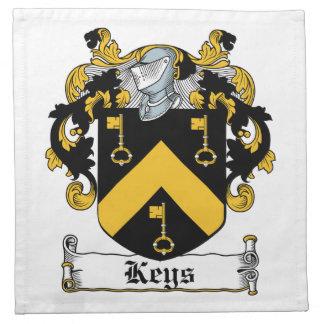 Escudo de la familia de las llaves servilletas de papel