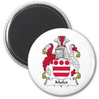 Escudo de la familia de las mulas imán redondo 5 cm