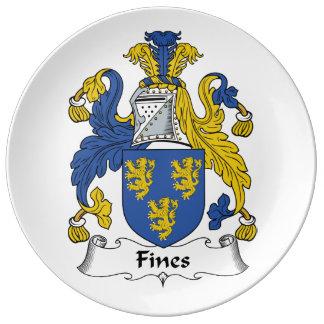 Escudo de la familia de las multas platos de cerámica