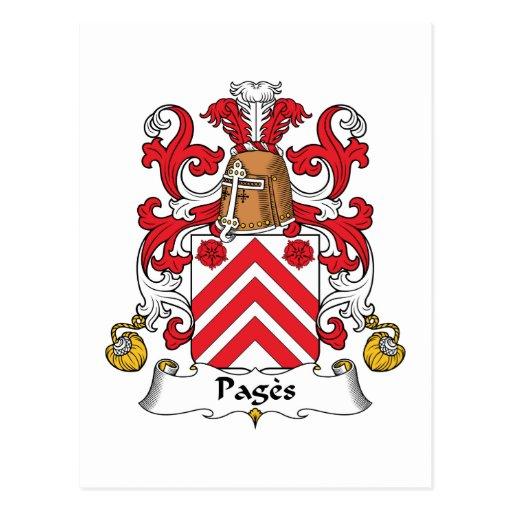 Escudo de la familia de las páginas postales
