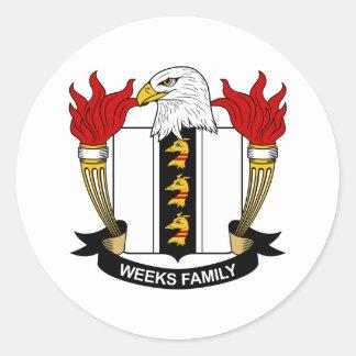 Escudo de la familia de las semanas etiquetas redondas