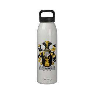Escudo de la familia de las torres botella de agua