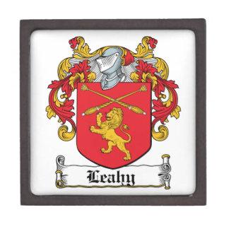Escudo de la familia de Leahy Caja De Recuerdo De Calidad