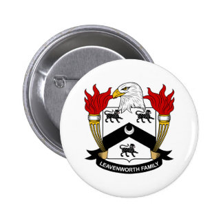 Escudo de la familia de Leavenworth Pin Redondo De 2 Pulgadas