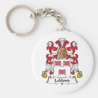 Escudo de la familia de Leblond Llavero Redondo Tipo Pin