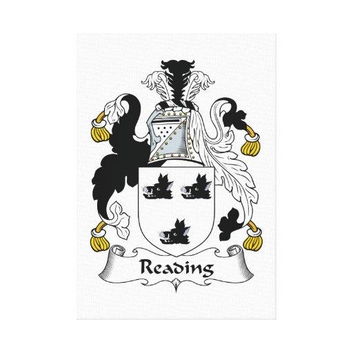 Escudo de la familia de lectura lienzo envuelto para galerías