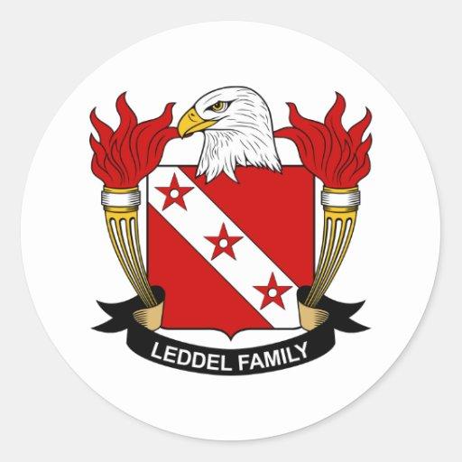 Escudo de la familia de Leddel Pegatina Redonda